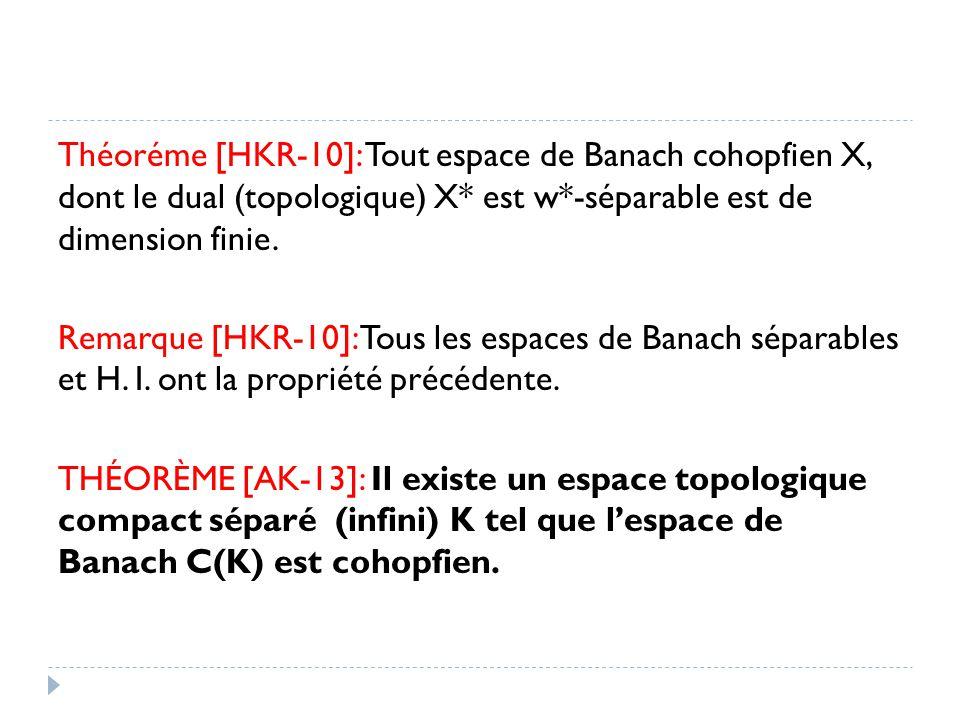 Théoréme [HKR-10]: Tout espace de Banach cohopfien X, dont le dual (topologique) X* est w*-séparable est de dimension finie.